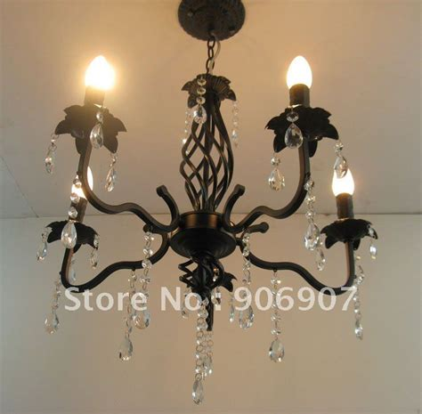 free shipping black wrought iron chandelier 5