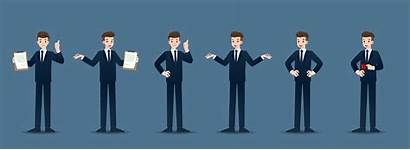 Gestures Businessman Illustration Business Different Character Vector