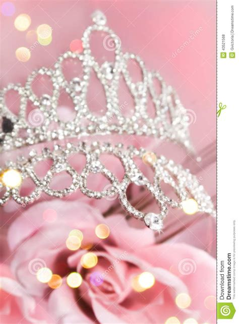 glitter crown  pink roses stock photo image