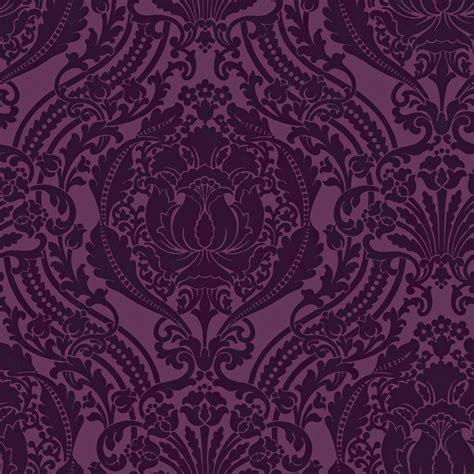 purple damask wallpaper bedroom