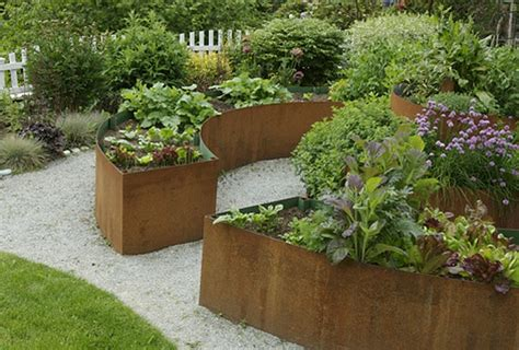 curved metal planters by exteriorscapes garden