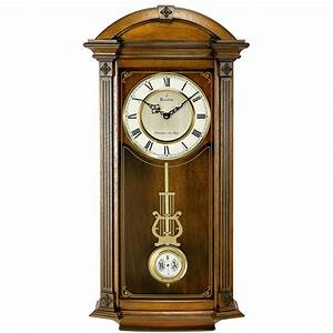 Pendulum wall clock with Triple Chime Bulova Hartwick ...