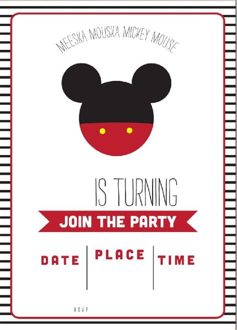 Mickey Mouse Invitations Template by Get Free Template Free Simple Mickey Mouse Invitation