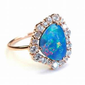 blue opal engagement rings wedding and bridal inspiration With opal wedding rings