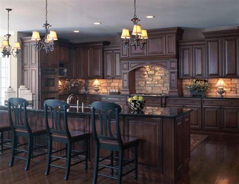kitchen floor ideas with dark cabinets old world style kitchen with stone backsplash dark wood