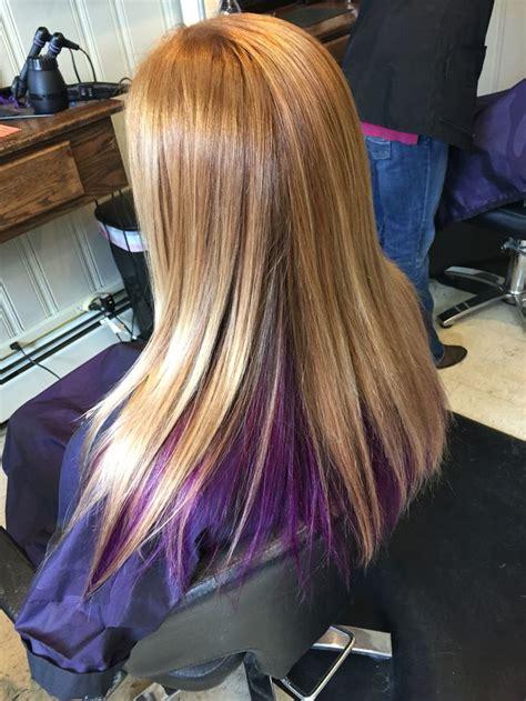 Blonde Hair With Purple Color Underneath Hair