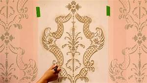How to Stencil Tutorial: Paint an Accent Wall with Ombre Stripes & Damask Wall Stencils YouTube