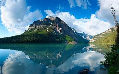 Nature Evergreen Water Mountains Lakes Colorful Clouds