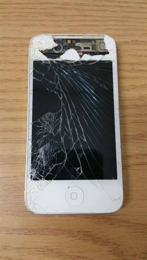 apple iphone  white cracked screen frontback  ebay