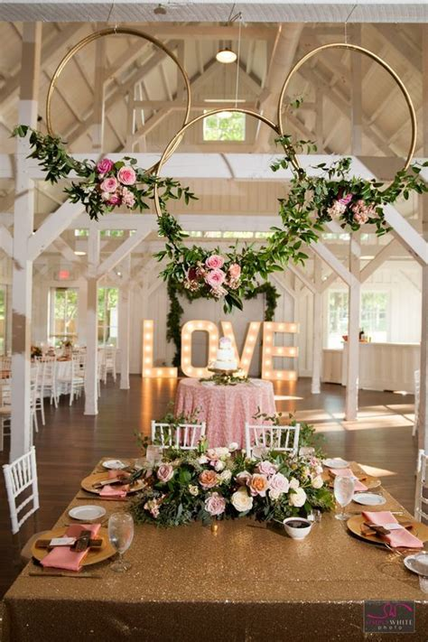 gorgeous reception area at spain ranch pink and gold