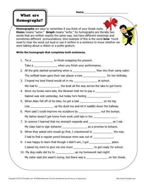 homograph worksheets for 4th grade homograph worksheets what are homographs
