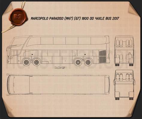marcopolo paradiso   dd  axle bus  blueprint