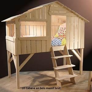 Lit Enfant Cabane : lit enfant sur lev cabane en bois massif ~ Teatrodelosmanantiales.com Idées de Décoration