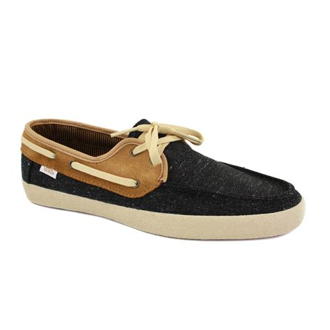 Vans Boat Shoes All Black by Vans Chauffeur Boat Shoes Laced Wool Suede Black For