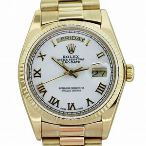 Rolex President 18038 18k Yellow Gold White Dial Mens ...