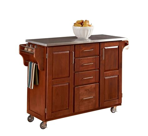 kitchen island cart canada large cottage oak create a cart with stainless top 9100
