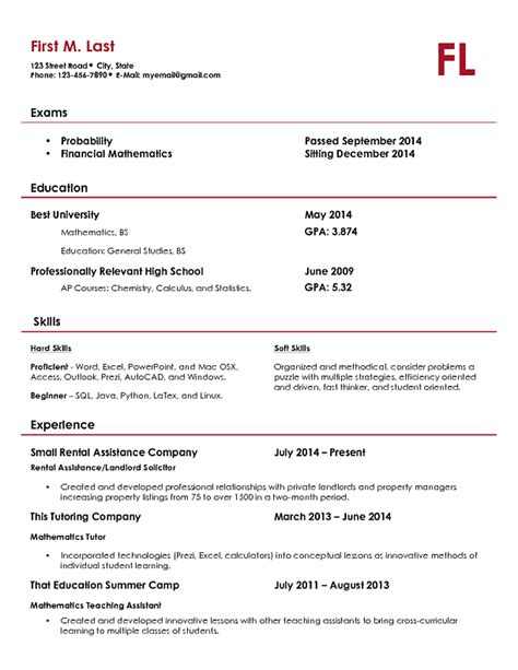 actuarial intern resume template actuary resume sle