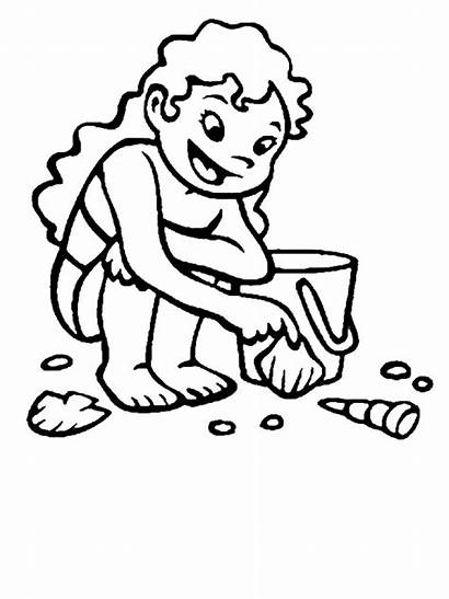 Beach Coloring Seashells Collecting Sand Clipart Shells