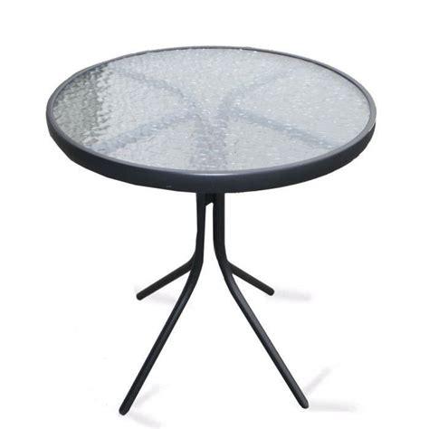 table ronde en acier plateau verre tremp 233 achat vente table de jardin table ronde en acier