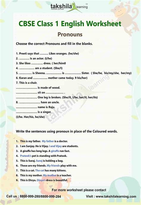 english worksheet for practice grammar class 1 pronouns
