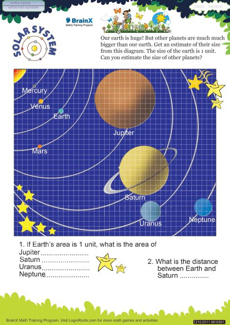 solar system math worksheet  grade   printable