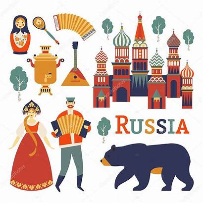 Russian Culture Vector Russia Icons Nature Illustration