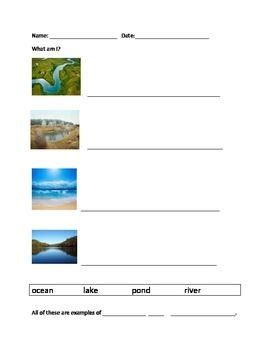 bodies of water worksheet set teacherspayteachers