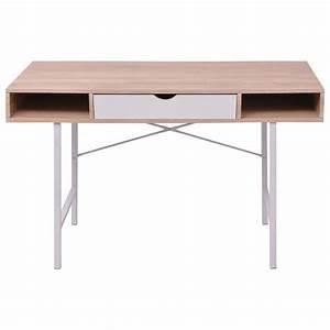 Schreibtisch Mit Schublade : vidaxl schreibtisch mit 1 schublade eiche und wei g nstig kaufen ~ Orissabook.com Haus und Dekorationen