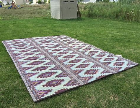 outdoor patio rug 9x12 rv cing picnic mat reversible 20300 ebay