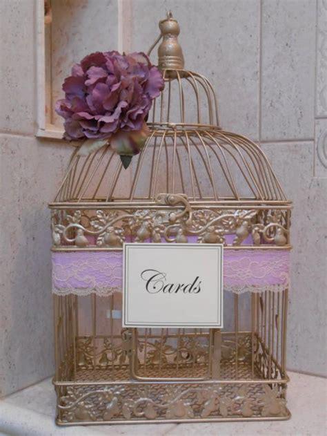 gold birdcage wedding card holder card box lavender