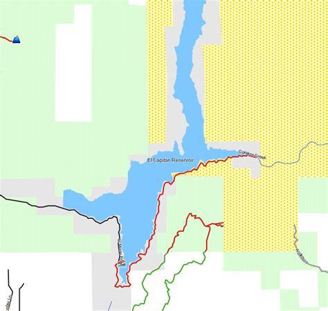 El Capitan Lake Boat Rental by El Capitan Reservoir California Trail Map
