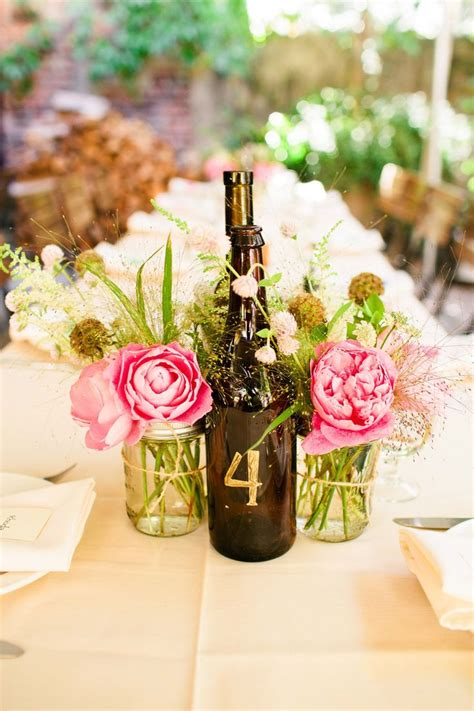 Wine Bottle and Mason Jar Centerpieces Wine bottle