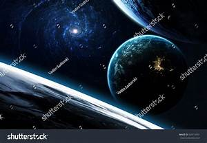 Deep Space Art Nebulas Planets Galaxies Stock Photo ...