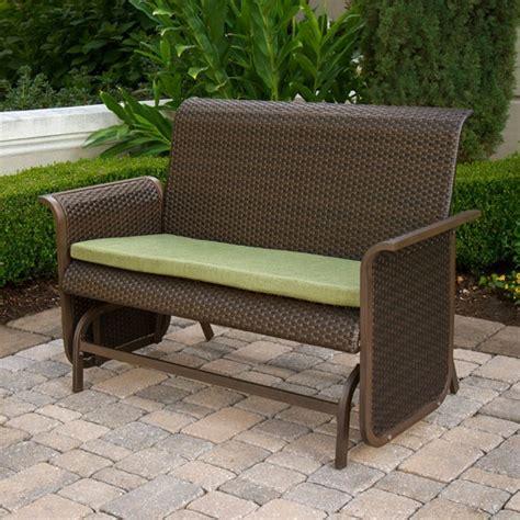 patio glider bench modern wicker loveseat glider bench