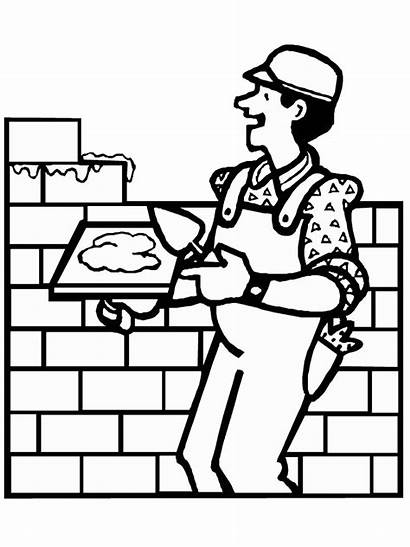 Construction Coloring Pages Worker Equipment Brick Cliparts