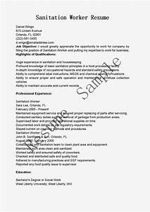 Housekeeper Resume Objective Resume Samples Sanitation Worker Resume Sample