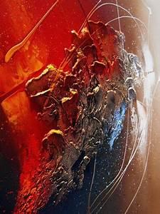 Tableau Peinture Moderne : tableau abstrait contemporain sedna toile peinture moderne en relief noir marron rouge cuivre ~ Teatrodelosmanantiales.com Idées de Décoration