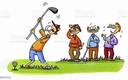 Golf Cartoons Number Beginner Cartoon Illustration Drawing