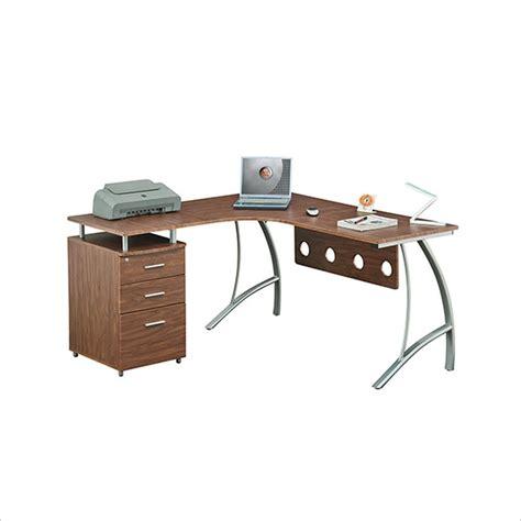 techni mobili l shaped computer desk techni mobili l shape corner w file cabinet privacy