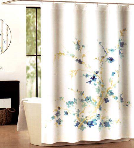 Tahari Curtains Home Goods by Tahari Home Printemps White Blue Floral Fabric Shower