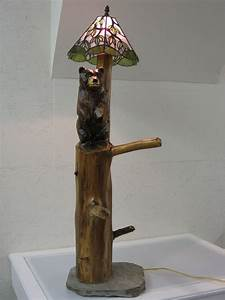 Hand made bear floor lamp by serenity stained glass studio for Floor lamp with bear