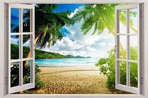 Virgin island 3d window view decal wall sticker art mural for Beautiful beach decals for walls