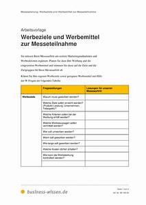 Personalbedarf Berechnen : werbeziele und werbemittel zur messeteilnahme vorlage business ~ Themetempest.com Abrechnung
