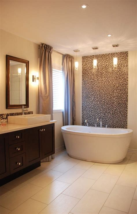 tile accent wall bathroom transitional with flooring