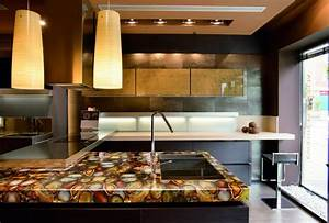 modern kitchen countertops from unusual materials 30 ideas With kitchen colors with white cabinets with geode agate wall art