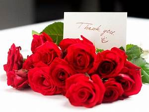 Bouquet of red roses with a thank you note | Stock Photo ...