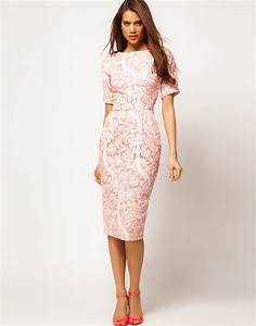 asos collection pencil dress in wallpaper print in pink lyst With pencil wedding dress