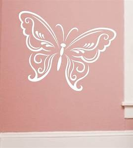butterfly wall decal large lacey design choose color With butterfly wall decals