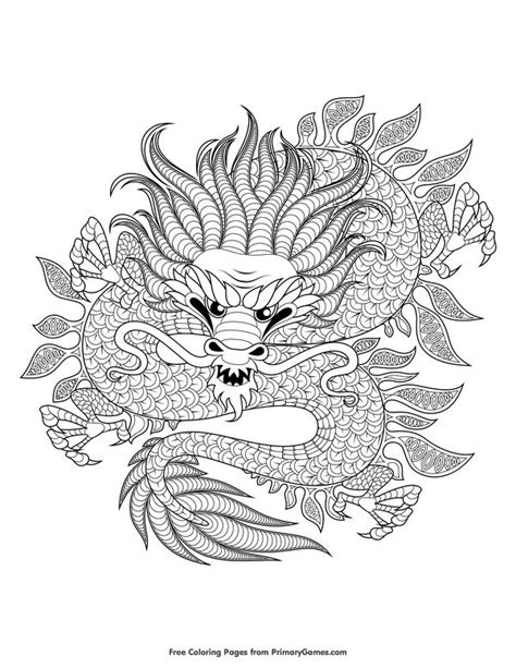 Chinese Dragon Coloring Page • FREE Printable eBook