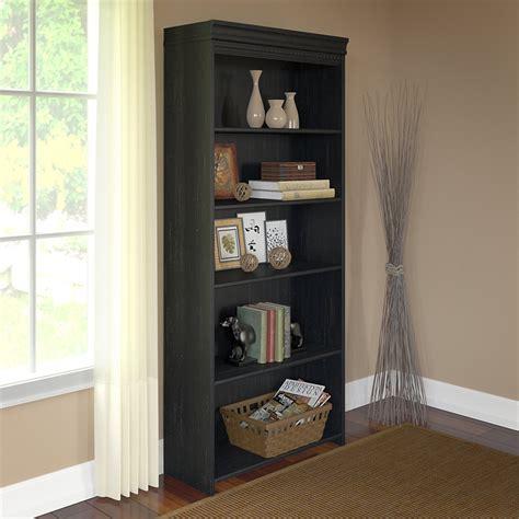 Antique Black Bookcase by Bush Furniture Stanford 5 Shelf Bookcase In Antique Black